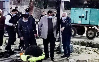 محافظ البحيرة يتفقد الأعمال النهائية لخط طرد الصرف الصحى بشارع عبد السلام الشاذلي بدمنهور